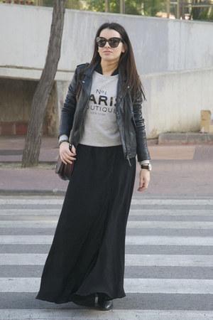 heather gray Mango sweatshirt - black studded Zara boots - black Mango dress