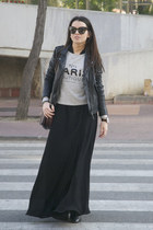 heather gray Mango sweatshirt - black studded Zara boots - black Mango dress