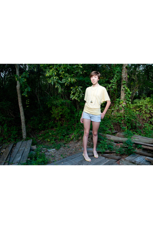 yellow shoes - silver Rue 21 shorts - yellow payless shoes - Clares