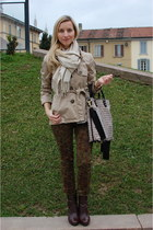 DKNY boots - H and M blazer - marina rinaldi scarf - Love Moschino bag
