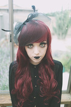 black chiffon Forever 21 blouse - black headband Forever 21 hair accessory