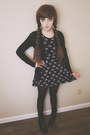 Black-floral-print-vintage-dress-black-forever-21-tights