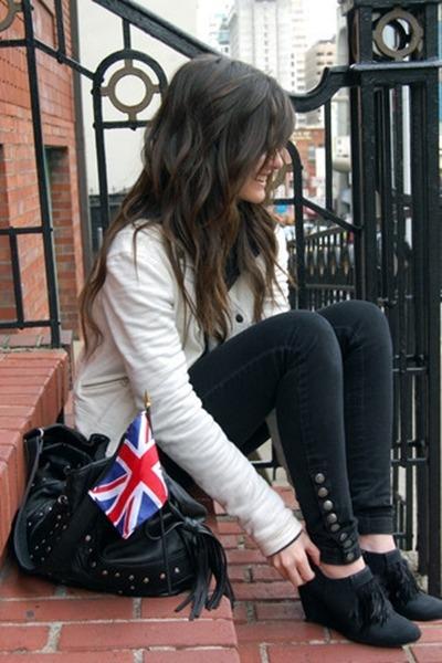 Forever 21 bag - DIY boots - thrifted diy jeans - H&M blazer