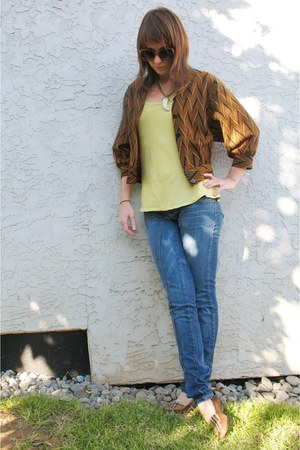 brown cropped chevron thrifted jacket - lime green top