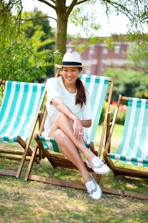 Finders Keepers dress - JCrew hat - dune loafers