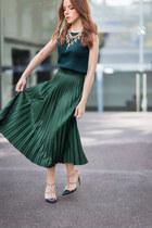 teal sleeveless jean paul gaultier top - gold statement Zara necklace