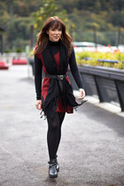 black cut out asos boots - ruby red tunic Massimo Dutti sweater