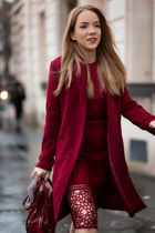 red lace Zara dress - red duster asos coat - red leather DKNY bag