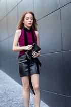 black buckle Zara boots - black velvet Zara scarf - black clutch Mango bag