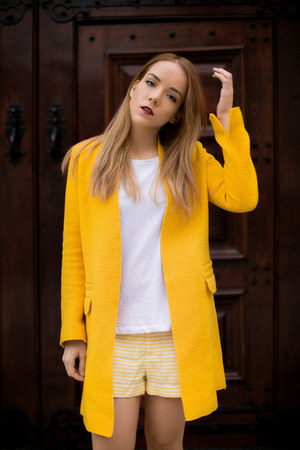 yellow structured Zara coat - yellow striped JCrew shorts