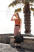 orange halter Urban Outfitters top - black tote Armani Jeans bag