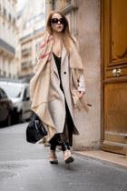 beige long Zara coat - tan blanket Zara scarf - black tote Armani Jeans bag