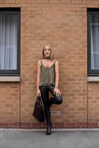black ankle Massimo Dutti boots - black leather asos leggings