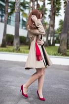 black collar Zara dress - beige trench Zara coat