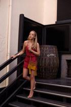 mustard shoulder Chloe bag - ruby red charmer Tularosa romper