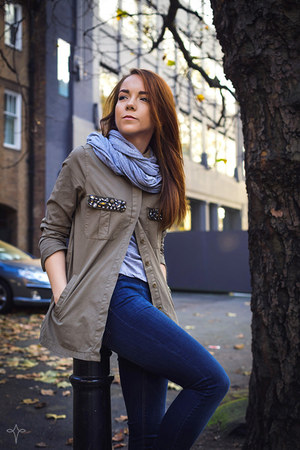 olive green military Zara jacket - navy jeggings Stradivarius jeans
