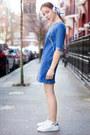 Blue-denim-miss-selfridge-dress-white-pearl-acessorize-bracelet