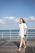 white tunic Massimo Dutti dress - brown mock crock Massimo Dutti bag