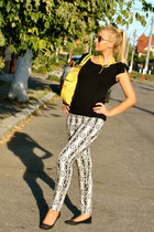 printed H&M pants - yellow Guess bag - aviator Pull and Bear sunglasses
