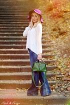 navy Mango jeans - purple meli melo hat - green no name bag
