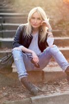 black Topshop boots - sky blue LTB jeans - black Bershka jacket