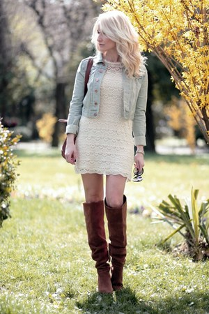 light blue H&M jacket - burnt orange Bershka boots - eggshell Zara dress