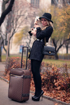 black Rinascimento coat - black Chanel purse - dark brown Louis Vuitton bag