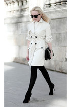 off white Mango coat - black Zara heels