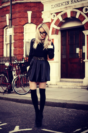 black AX Paris skirt - black Zara blouse