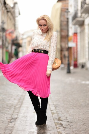 bubble gum H&M skirt - black Zara boots - nude vintage bag