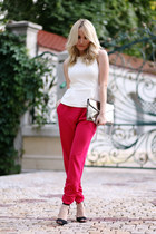 hot pink Lashez pants - ivory H&M top - black Zara heels