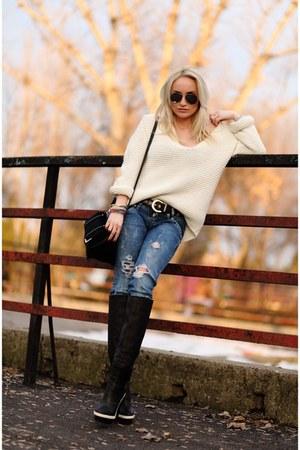 off white Zara sweater - black balenciaga boots - blue Zara jeans