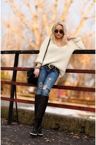 off white Zara sweater - black balenciaga boots - blue Zara jeans