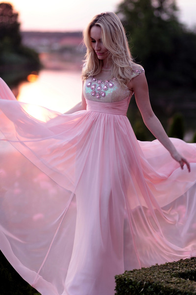 light pink cristallini dress