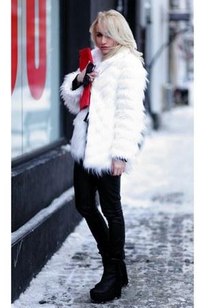 white Stradivarius coat - black H&M boots - black Pimkie leggings