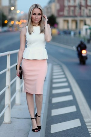 light pink Orsay skirt - ivory H&M top - black Zara heels