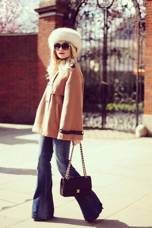 bronze Topshop coat - blue Mango jeans - black Chanel purse