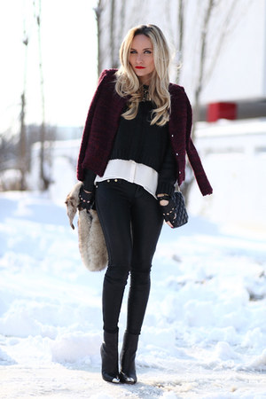 black Zara boots - maroon IRO jacket - black Zara purse