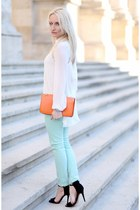 light blue Zara pants - black Zara sandals - off white Lashez blouse