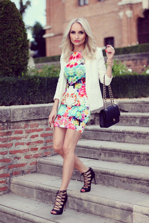 black Chanel purse - hot pink Sheinsidecom dress - white Mango blazer