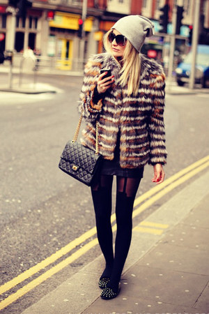 black Elie Saab coat - heather gray River Island hat - black Topshop tights
