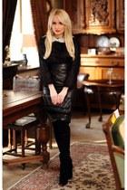 black za boots - black vintage skirt - black La Chaterrie blouse