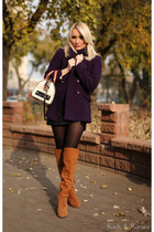 tawny Bershka boots - deep purple Victorias Secret coat - eggshell Guess bag