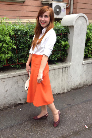 carrot orange Midi Skirt skirt