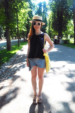 cream unknown hat - yellow unknown bag - sky blue Zara shorts - navy unknown top