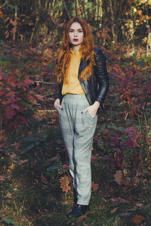 black Zara jacket - black Monki pants - mustard H&M top