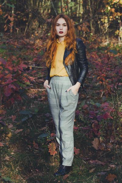 black Zara jacket - black Monki pants - mustard H&M top