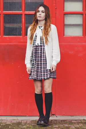 leather Dr Martens shoes - mixed fibres Missguided dress - H&M socks