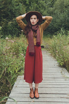 mustard pull&bear sweater - burnt orange H&M hat - ruby red natura scarf