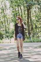 leather Zara boots - Levis shorts - Ebay sunglasses - Hellaholic vest